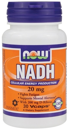 DROPPED: NOW Foods - NADH With 200 mg D-Ribose 20 mg. - 30 Vegetarian Capsules