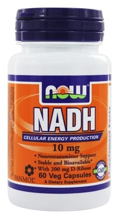 NOW Foods - NADH With 200 mg D Ribose 10 mg. - 60 Vegetarian Capsules