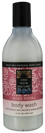 DROPPED: One With Nature - Dead Sea Mineral Body Wash with Dead Sea Salts & Shea Butter Rose Petal - 12 oz. CLEARANCE PRICED