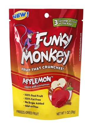 DROPPED: Funky Monkey Snacks - Freeze Dried Fruit Applemon Apple with Cinnamon - 1 oz. CLEARANCE PRICED