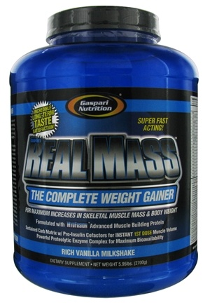 DROPPED: Gaspari Nutrition - Real Mass Complete Weight Gainer Rich Vanilla Milkshake - 5.95 lbs. CLEARANCE PRICED