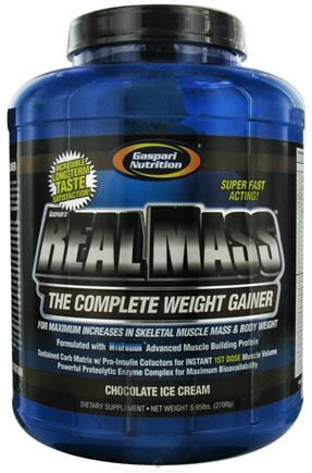 DROPPED: Gaspari Nutrition - Real Mass Complete Weight Gainer Chocolate Ice Cream - 5.95 lbs. CLEARANCE PRICED