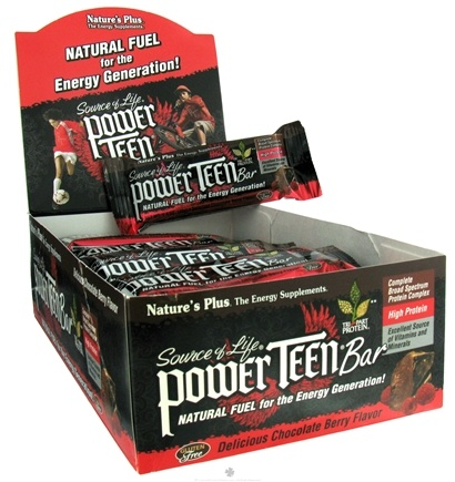 DROPPED: Nature's Plus - Source Of Life Power Teen Protein Bar Delicious Chocolate Berry Flavor - 1.4 oz.