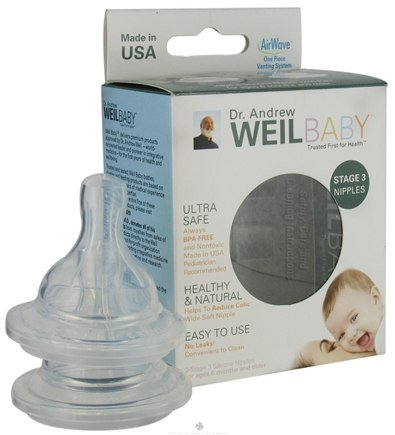 DROPPED: Weil Baby - Silicone Nipples With AirWave Venting System BPA Free Stage 3 (6+ Months) - 2 Pack
