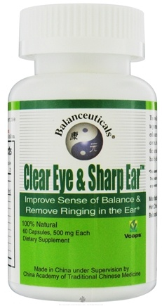 DROPPED: Balanceuticals - Clear Eye & Sharp Ear Improve Sense of Balance & Remove Ringing in the Ear 500 mg. - 60 Vegetarian Capsules