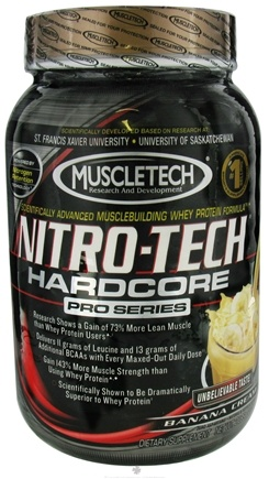 DROPPED: Muscletech Products - Nitro-Tech Hardcore Pro Series Banana Cream - 2 lbs. CLEARANCE PRICED
