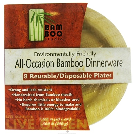 "DROPPED: Bamboo Studio - Bamboo Dinnerware Round Plate Reusable Disposable 7.125"" - 8 Pack CLEARANCE PRICED"