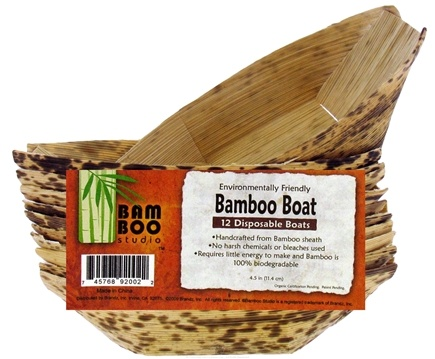 "DROPPED: Bamboo Studio - Bamboo Dinnerware Bamboo Boat Reusable Disposable 4.5"" - 12 Pack CLEARANCE PRICED"