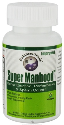 DROPPED: Balanceuticals - Super Manhood Better Erection, Performance & Sperm Count 500 mg. - 60 Vegetarian Capsules