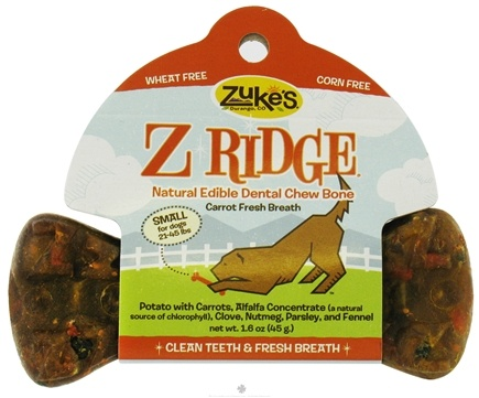 DROPPED: Zuke's - Z-Ridge Dental Chew Bones Small Carrot Fresh Breath - 1.6 oz.