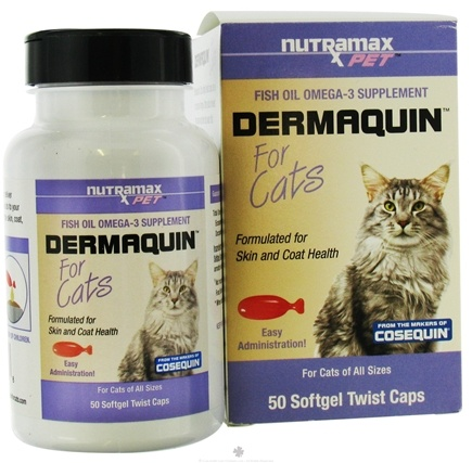DROPPED: Nutramax Labs - Dermaquin Fish Oil Omega-3 Supplement for Cats - 50 Softgels