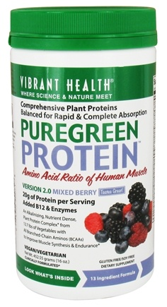 DROPPED: Vibrant Health - Pure Green Protein Powder Mixed Berry - 16 oz.