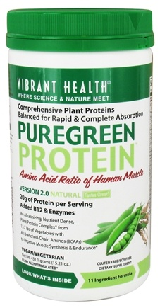 DROPPED: Vibrant Health - Pure Green Protein Powder Natural - 15.21 oz.