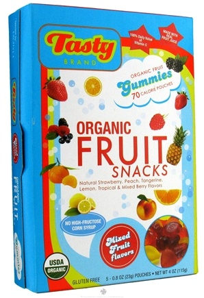 DROPPED: Tasty Brand - Organic Gummy Fruit Snacks Box Mixed Fruit Flavors - 4 oz. CLEARANCE PRICED