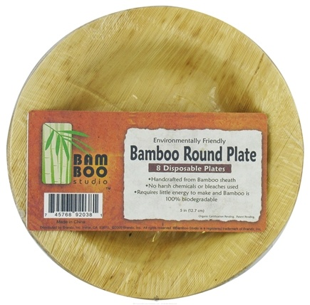 "DROPPED: Bamboo Studio - Bamboo Dinnerware Round Plate Reusable Disposable 5"" - 8 Pack CLEARANCE PRICED"
