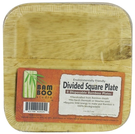 "DROPPED: Bamboo Studio - Bamboo Dinnerware Divided Square Plate Reusable Disposable 5"" - 8 Pack CLEARANCE PRICED"