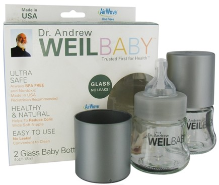 DROPPED: Weil Baby - Glass Nurser Bottle With AirWave Venting System & Stage 1 Nipple BPA Free 4 oz. - 2 Pack CLEARANCE PRICED