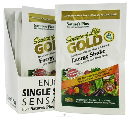 DROPPED: Nature's Plus - Source Of Life Gold Energy Shake Ultimate Vitamin Mineral & Protein Packet Natural Delicious Tropical Berry - 1.2 oz. CLEARANCE PRICED