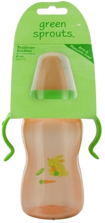 DROPPED: Green Sprouts - Non-Spill Trainer Bottle 6 Months Stage 3 Orange - 8 oz. CLEARANCE PRICED