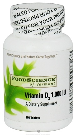 DROPPED: FoodScience of Vermont - Vitamin D3 1000 IU - 250 Tablets CLEARANCE PRICED