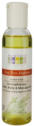 DROPPED: Aura Cacia - Aromatherapy Bath, Body & Massage Oil Purifying Tea Tree Harvest - 4 oz. CLEARANCE PRICED