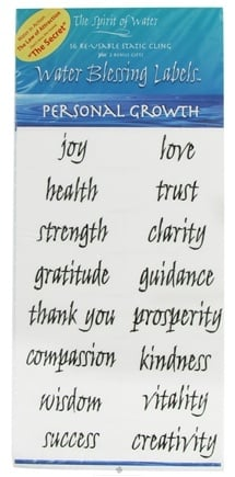 Zoom View - Water Blessing Labels Personal Growth Collection - 16 Re-usable Labels