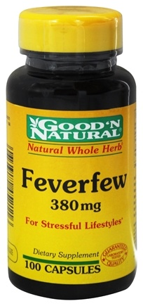 DROPPED: Good 'N Natural - Feverfew Natural Whole Herb For Stressful Lifestyles 380 mg. - 100 Capsules
