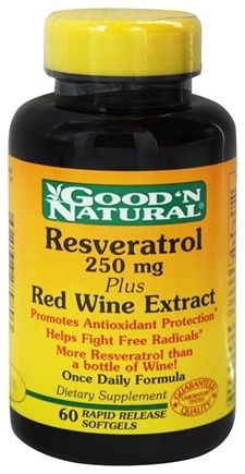 DROPPED: Good 'N Natural - Resveratrol Plus Red Wine Extract Once Daily Formula 250 mg. - 60 Softgels