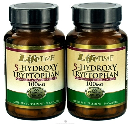 DROPPED: LifeTime Vitamins - 5-Hydroxy Tryptophan (30+30) Twin Pack 100 mg. - 60 Capsules