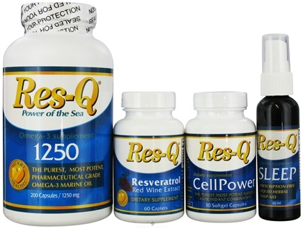 DROPPED: Res-Q - Longevity &  Heart Healthy Kit: Res-Q 1250, CellPower,Resveratrol & Sleep Liq.