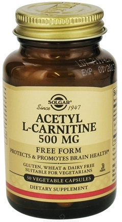 DROPPED: Solgar - Acetyl L-Carnitine Free Form 500 mg. - 30 Vegetarian Capsules CLEARANCE PRICED
