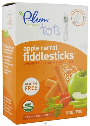 DROPPED: Plum Organics - Tots Fiddlesticks Organic Fruit & Grain Snack Sticks Apple Carrot - 2.12 oz. CLEARANCE PRICED