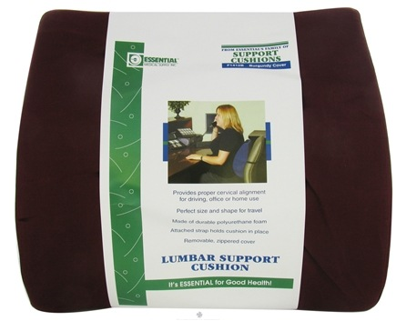 "DROPPED: Essential Medical Supply - Lumbar Support Cushion Low Profile Style F1412B 14"" W x 13"" H Burgundy Cover - CLEARANCE PRICED"