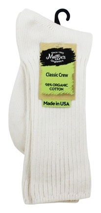 Maggie's Organics - Socks Cotton Crew Size 10-13 Natural - 1 Pair