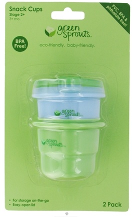 DROPPED: Green Sprouts - Snack Cups With Lids BPA-Free Stage 2+ (3+ Months) Sage Green & Cornflower Blue - 2 Pack CLEARANCE PRICED