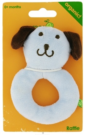 Zoom View - Green Sprouts Organic Velour Ring Rattle Dog 0 Plus Months