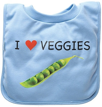 DROPPED: Green Sprouts - Favorite Food Absorbent Bib Stage 3 Veggies Blue
