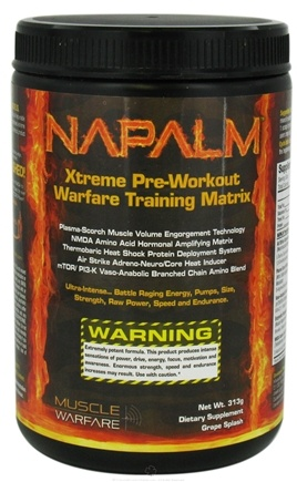 DROPPED: Muscle Warfare - Napalm Xtreme Pre-Workout Grape Splash - 313 Grams CLEARANCE PRICED