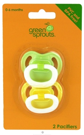 DROPPED: Green Sprouts - Silicone Basic Newborn Pacifier Stage 1 0-6 Months Green & Yellow - 2 Pack CLEARANCE PRICED