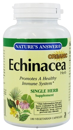 DROPPED: Nature's Answer - Organic Echinacea Herb - 180 Vegetarian Capsules CLEARANCE PRICED