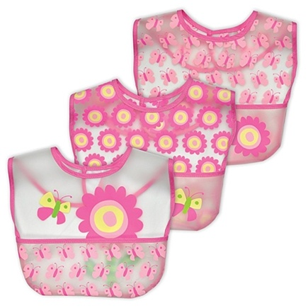 DROPPED: Green Sprouts - Green Sprouts Waterproof Pocket Bib 6-12 Months Stage 3 Butterfly & Flower Rose - 3 Pack