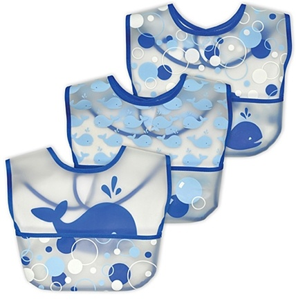 DROPPED: Green Sprouts - Waterproof Pocket Bib 6-12 Months Stage 3 Whale & Bubbles Cornflower Blue - 3 Pack