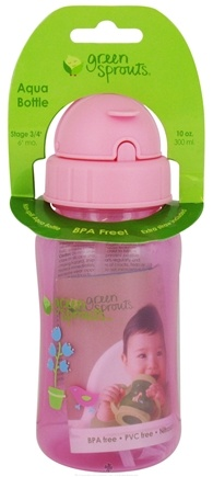DROPPED: Green Sprouts - Non-Spill Aqua Bottle BPA Free 6 Months Stage 3-4 Pink - 10 oz. CLEARANCE PRICED