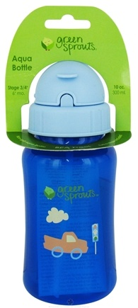 DROPPED: Green Sprouts - Non-Spill Aqua Bottle BPA Free 6 Months Stage 3-4 Royal Blue - 10 oz. CLEARANCE PRICED