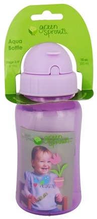 Zoom View - Green Sprouts Non-Spill Aqua Bottle BPA Free 6 Months Stage 3-4