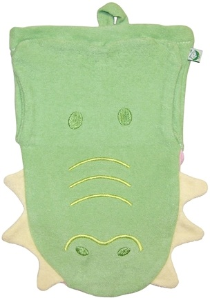 DROPPED: Green Sprouts - Organic Cotton Bath Puppet 3+ Months Alligator Sage Green
