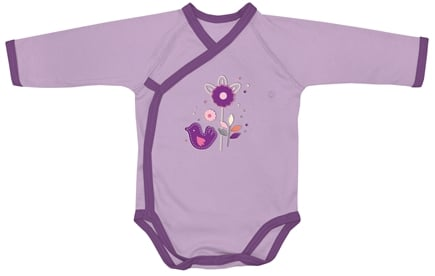 DROPPED: Green Sprouts - Origins Organic Bodysuit Long Sleeve Wrap Medium 6-12 Months Lavender
