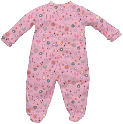 DROPPED: Green Sprouts - Origins Organic Footies Newborn 0-3 Months Chickadee Rose Pink
