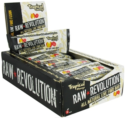 DROPPED: Raw Revolution - All Natural Live Food Bar with Sprouted Flax Seeds Tropical Mango - 1.6 oz. CLEARANCE PRICED
