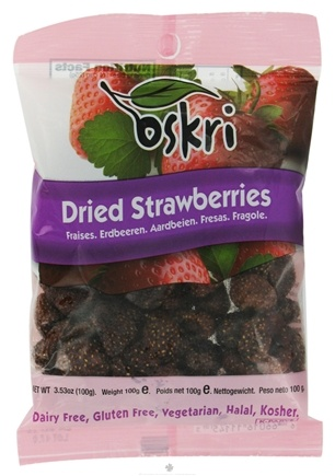 DROPPED: Oskri - Dried Strawberries Gluten-Free - 3.53 oz. CLEARANCE PRICED